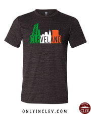"""Cleveland Irish Flats Skyline"" design on Black"