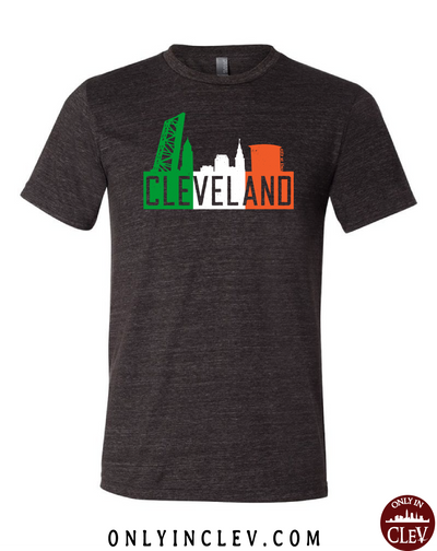 """Cleveland Irish Flats Skyline"" design on Black - Only in Clev"