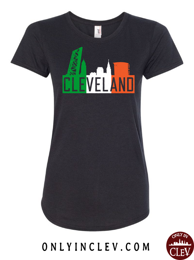 Irish Flats Skyline on Black Womens T-Shirt - Only in Clev