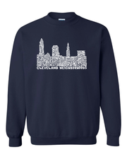 """Cleveland Skyline Neighborhood Design"" on Navy - Only in Clev"