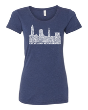 """Cleveland Skyline Neighborhood Design"" on Gray - Only in Clev"