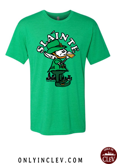 """Slainte Drinking Elf"" design on Green"