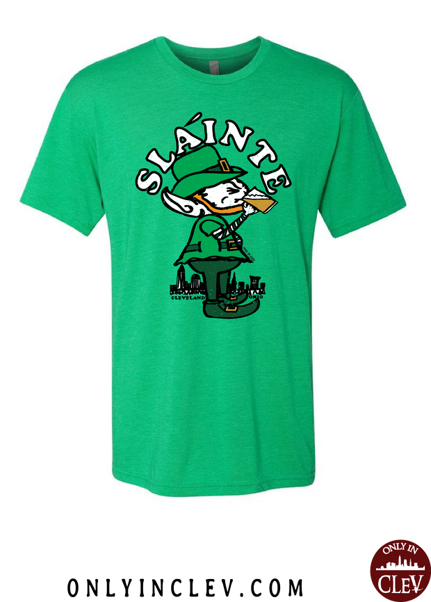 """Slainte Drinking Elf"" design on Green - Only in Clev"