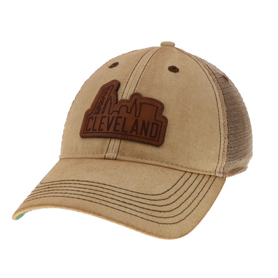 Tan Trucker Hat/Leather Skyline - Only in Clev