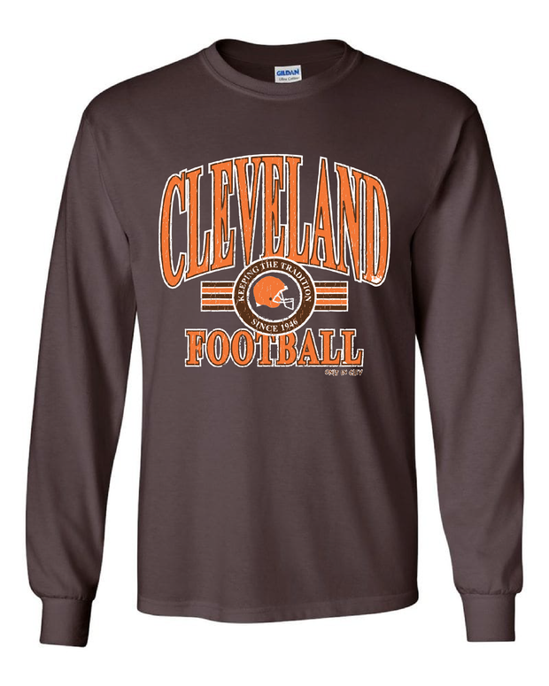 """Cleveland Football Tradition"" Vintage Design on Brown - Only in Clev"
