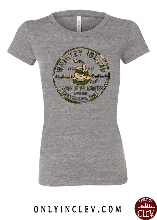 Whiskey Island Camo Womens T-Shirt