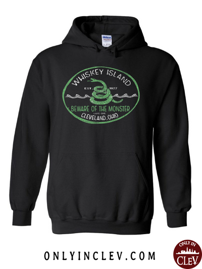 Whiskey Island on Black Hoodie