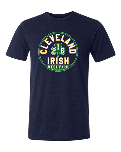 """West Park Irish"" design on Navy"