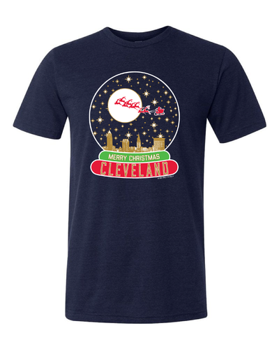 """Cleveland Snow Globe"" on Navy"