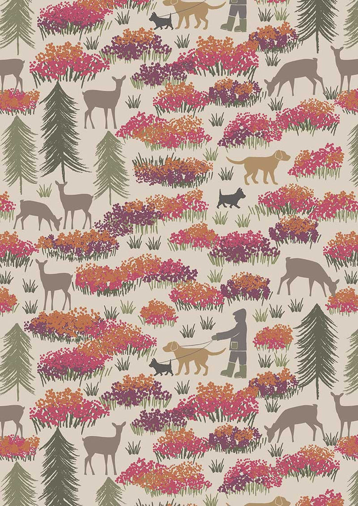 A Walk in the Glen on Cream Fabric, Lewis & Irene UK