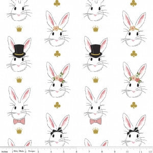 Wonderland Bunnies on White with Gold Sparkle