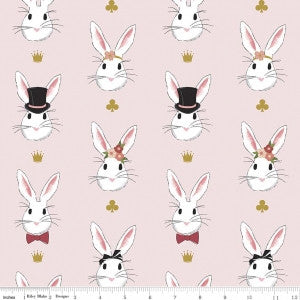 Wonderland Bunnies on Pink with Gold Sparkle (45 x 110cm Fabric Piece)