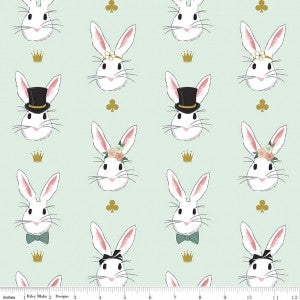 Wonderland Bunnies on Mint with Gold Sparkle