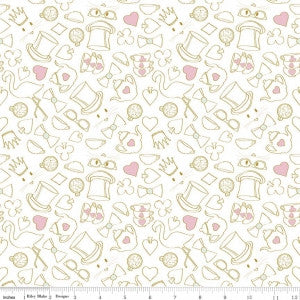 Wonderland Tea Party on White with Gold Sparkle