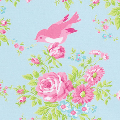 Zoey's Garden - Blue Floral with Birds