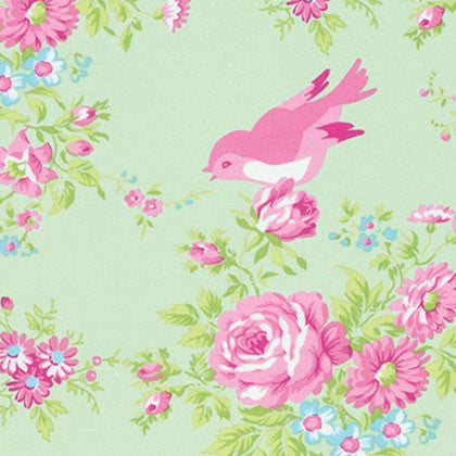 Zoey's Garden - Green Floral with Birds