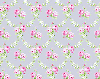 Rose Trellis on Grey