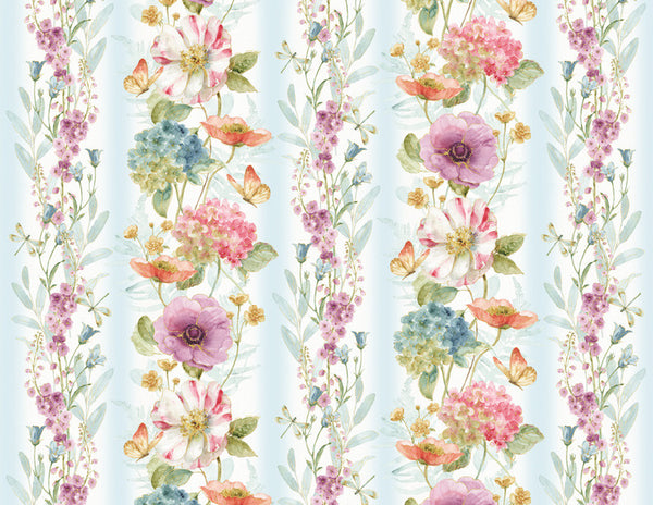 Rainbow Seeds Floral Repeating Stripes Print