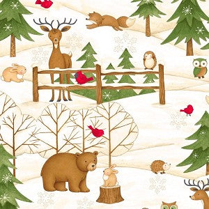 Santa & Friends Scene with Forest Animals
