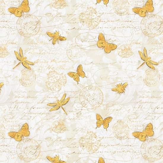Hydrangea Dreams - Gold Butterflies