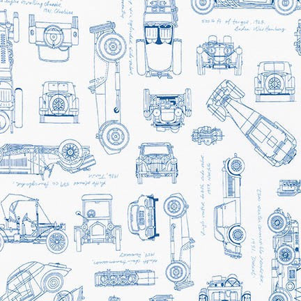 Vintage Car Blueprints - Blue