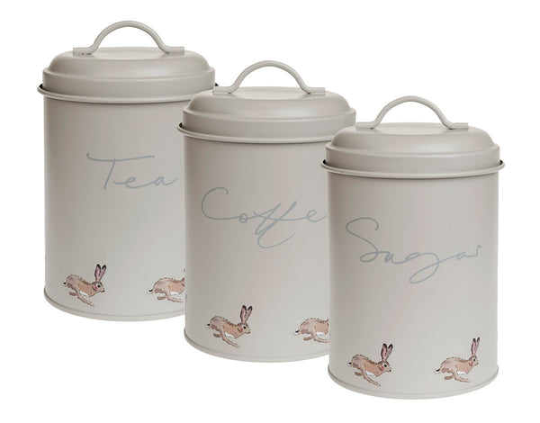 Hare Storage Tins (Set of 3 - Coffee, Tea and Sugar)