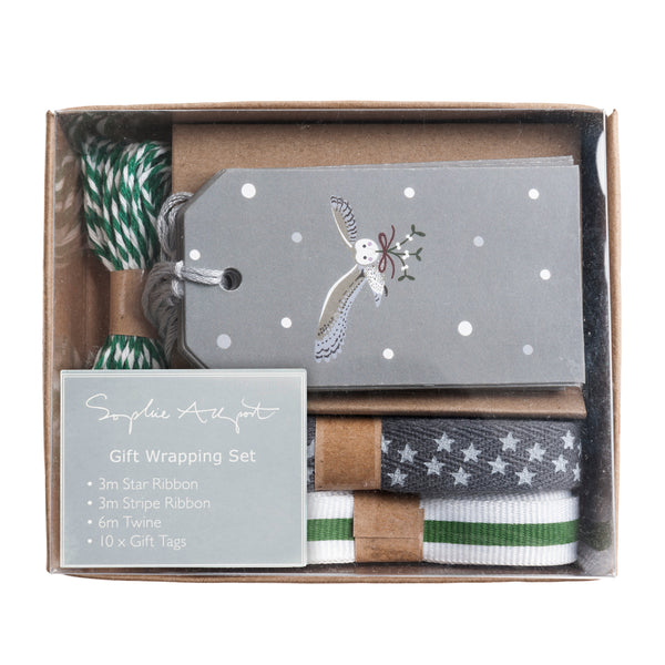 Night Owl Ribbon & Tag Gift Wrapping Set