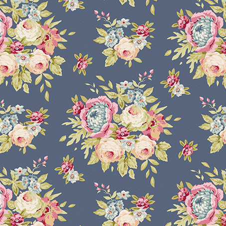 Garden Flowers Dark Blue (40 x 110cm Fabric Piece)