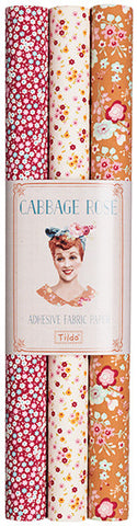 Cabbage Rose Self-Adhesive Fabric Sheet (3-Pack)