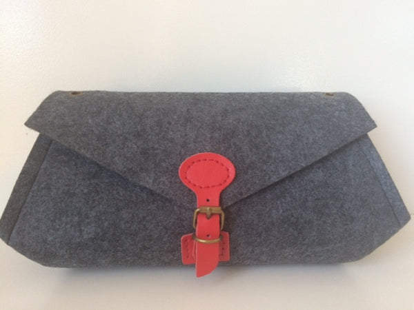 Luella Clutch (Small) with Red Handle & Clasp