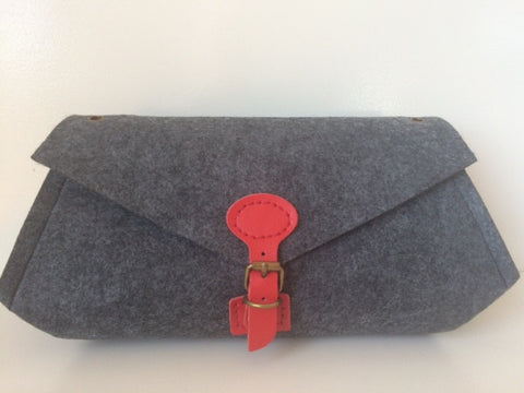 Luella Clutch (Large) with Red Handle & Clasp
