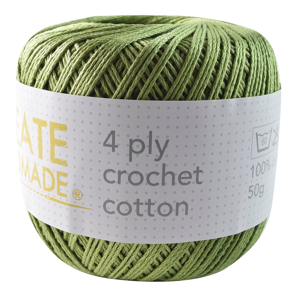 Olive Green 4Ply Crochet Cotton