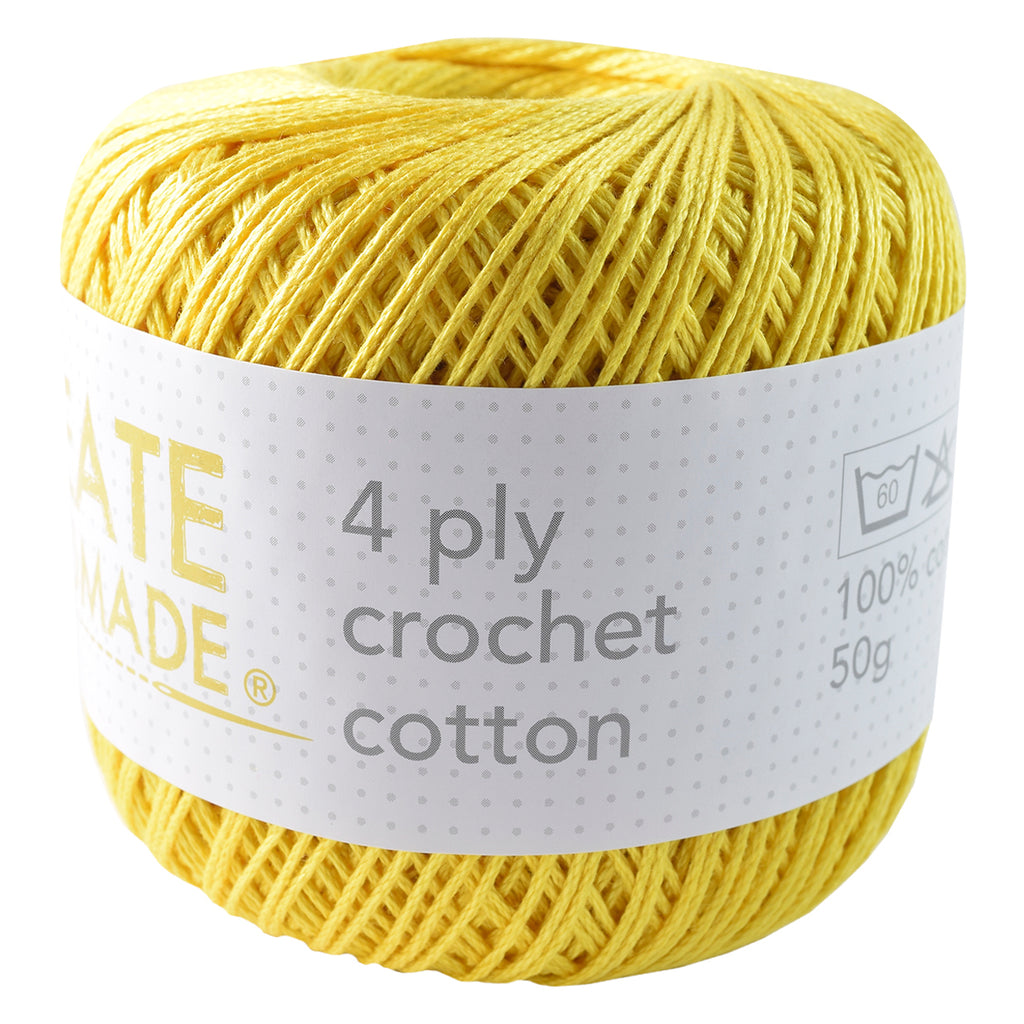 Yellow 4Ply Crochet Cotton