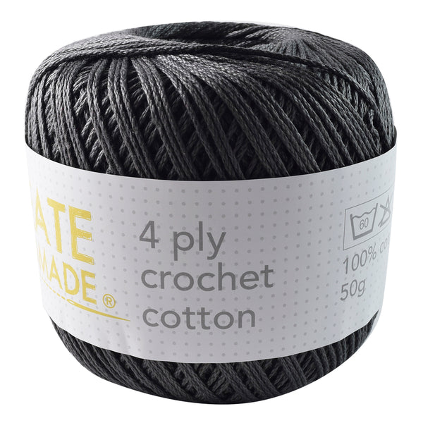 Charcoal 4Ply Crochet Cotton