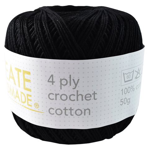 Black 4Ply Crochet Cotton