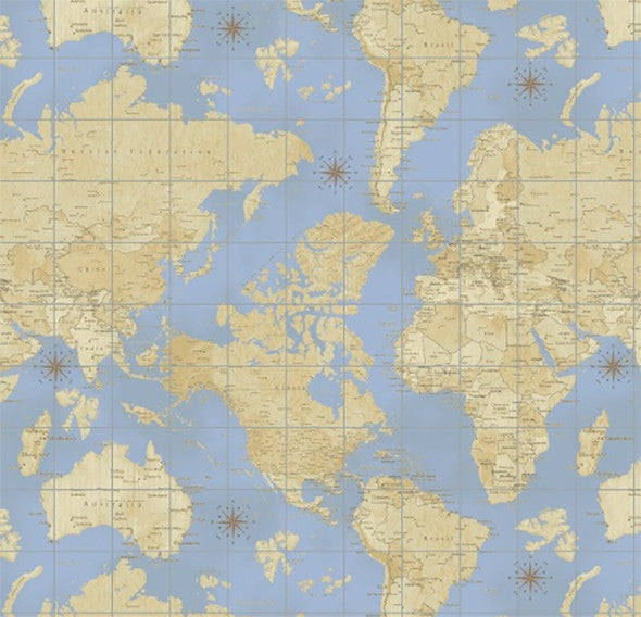 Windham fabrics theory of aviation collection country home and world map on blue 40 x 110cm fabric piece publicscrutiny Image collections