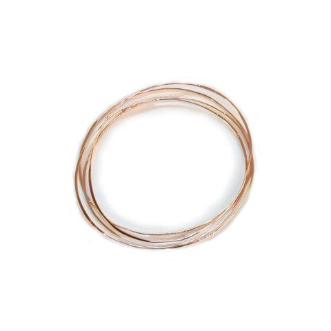 hand hammered bangles<br>14k rose gold fill