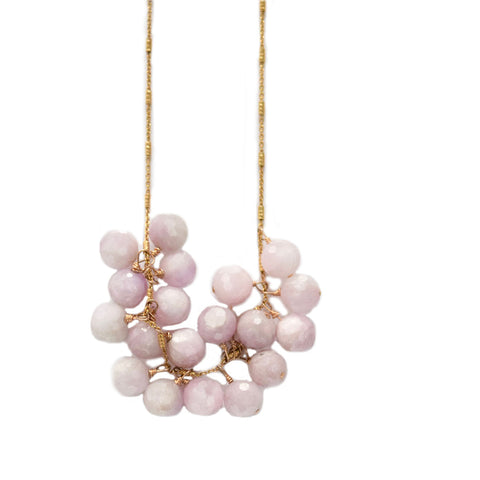 kunzite cluster necklace