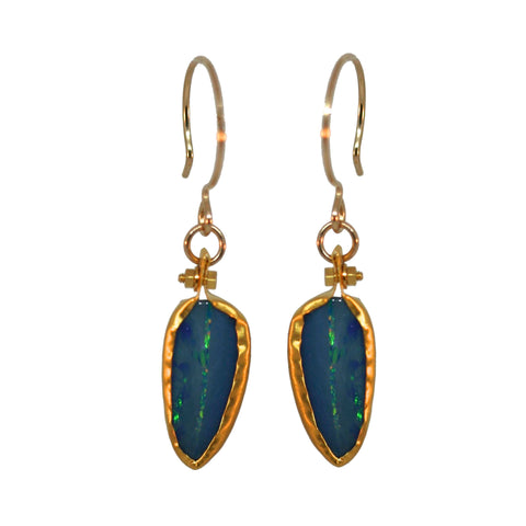 bezel wrapped blue opal earrings