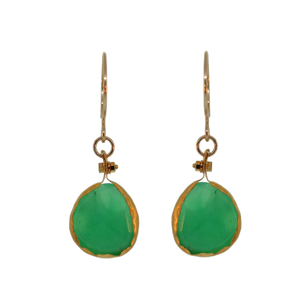 bezel wrapped chrysoprase earrings