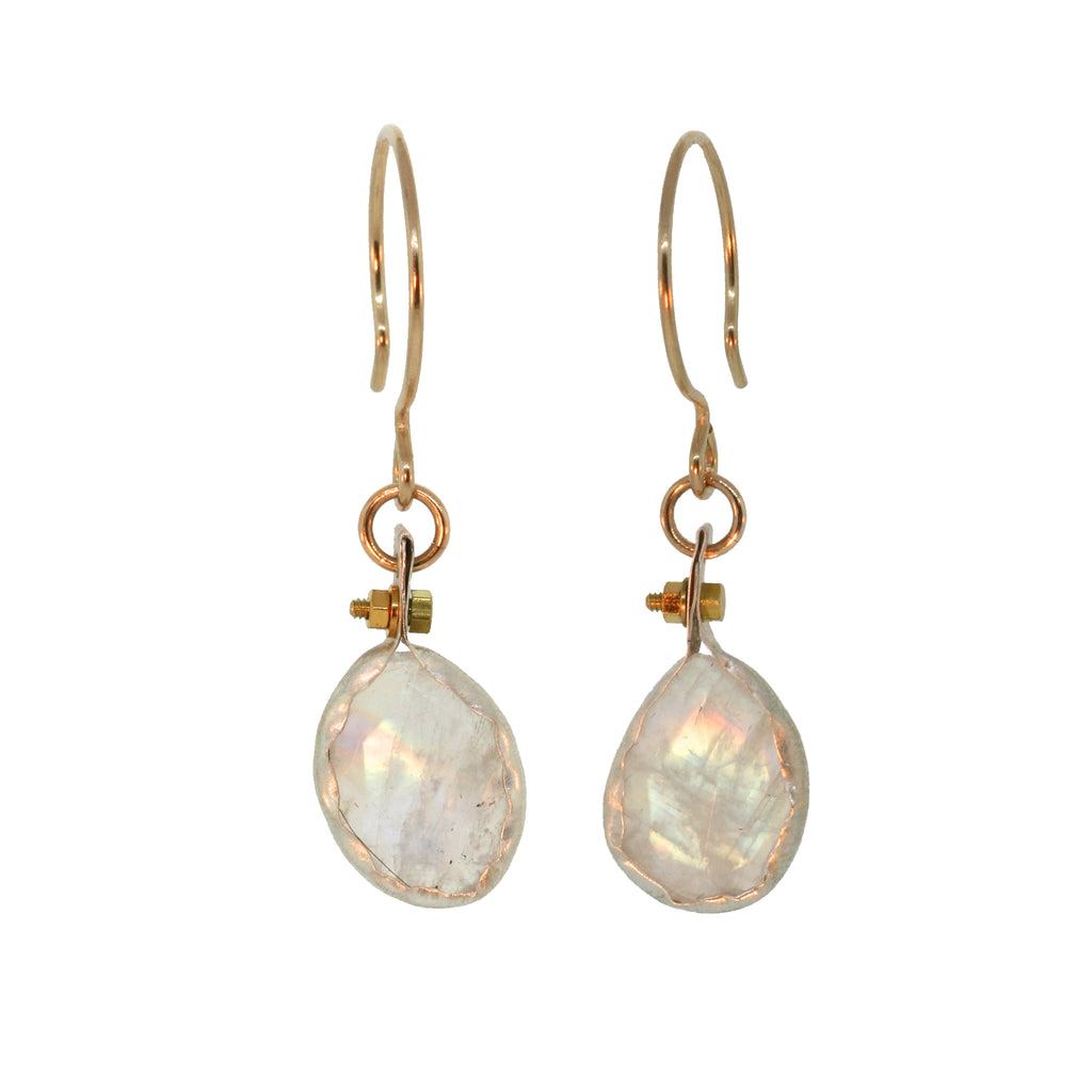 bezel wrapped rainbow moonstone earrings