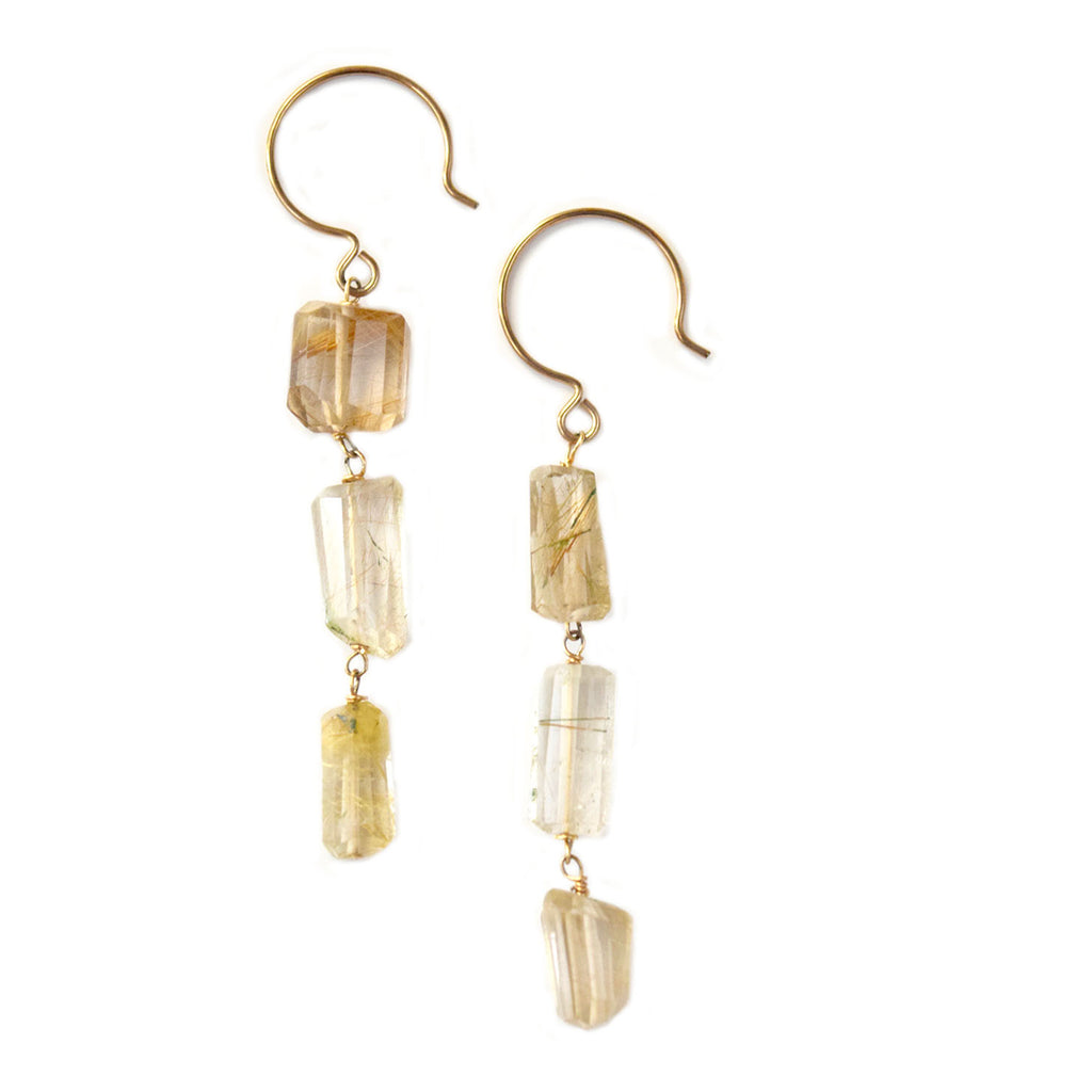 ella rutilated quartz earrings