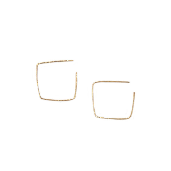 hand hammered square hoops