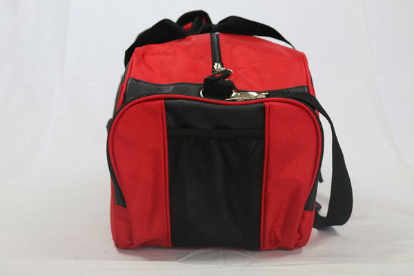 Athletic Red/Black Nylon Bag With Faux Leather Decor (Large)