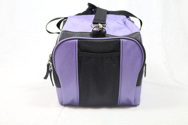 Athletic Lilac/Black Nylon Bag With Faux Leather Decor (Large)