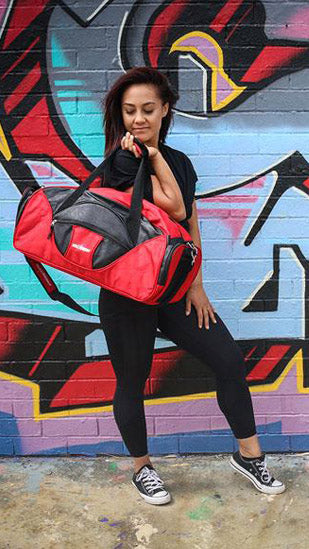 Athletic Red/Black Nylon Sports Bag With Faux Leather Decor (Large)