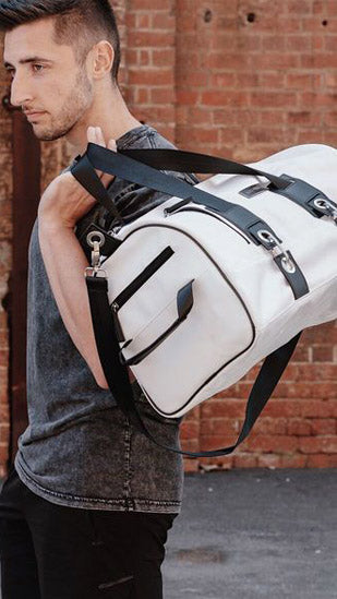 Beautiful  White Faux Leather duffel Bag/ Travel Bag (Medium)