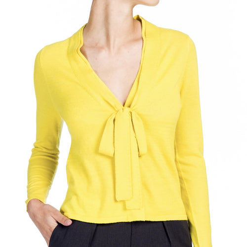 Cashmere Snap Cardigan - Yellow - Farinaz Taghavi