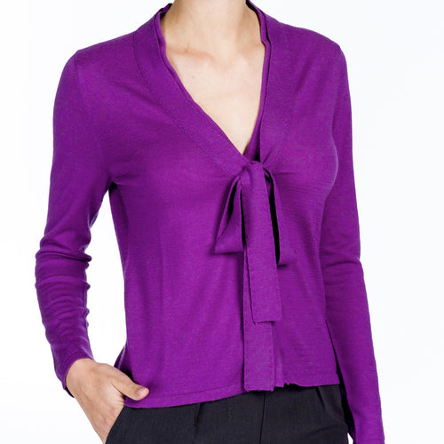 Cashmere Snap Cardigan - Purple - Farinaz Taghavi