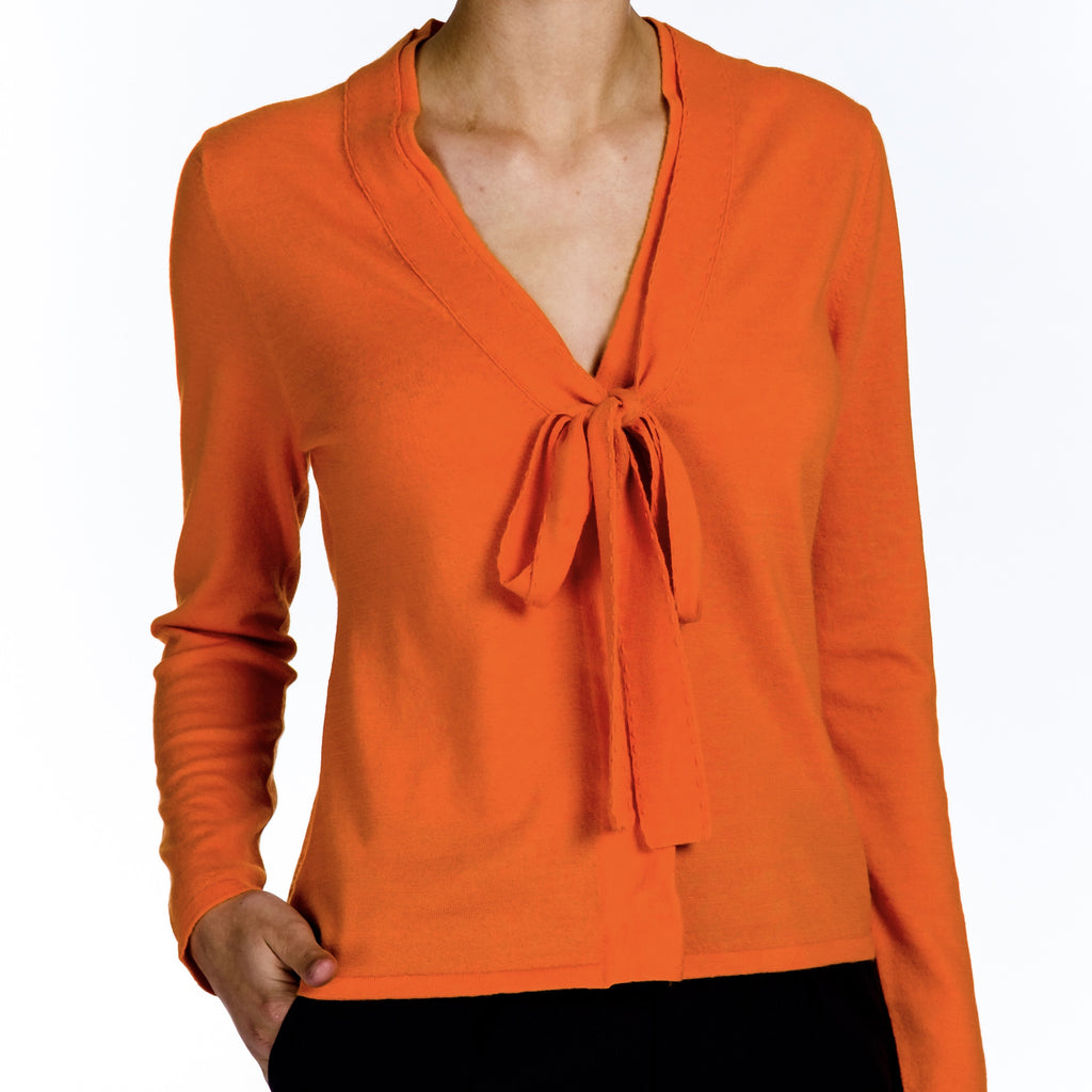Cashmere Snap Cardigan - Orange